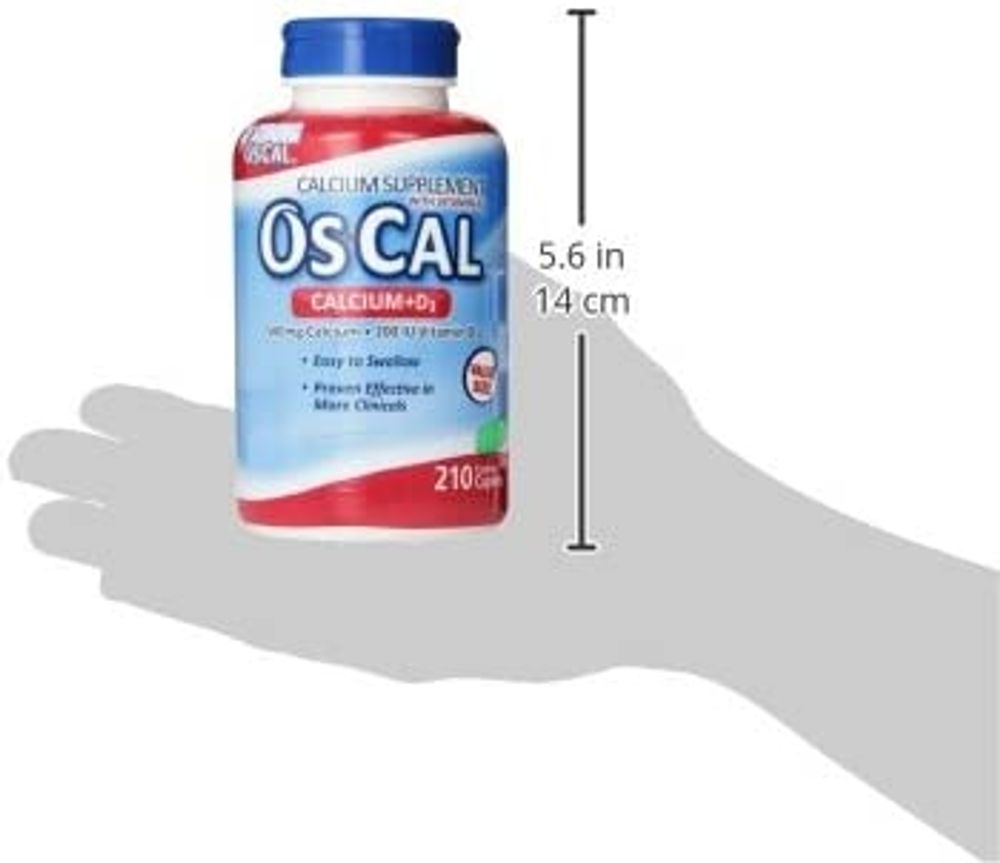 Os-Cal Calcium + D3 500 mg Calcium Supplement with 200 IU Vitamin D3 to Help Maintain Strong Bones, Coated Caplets - 210 Count