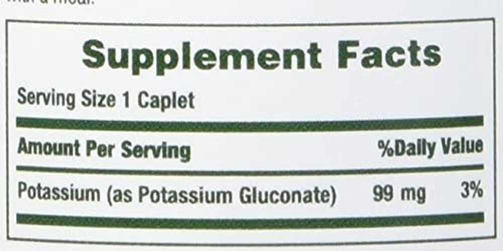 Nature's Bounty Potassium Gluconate 99mg, 100 Caplets