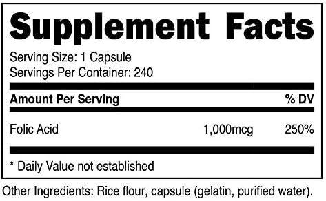 Nutricost Folic Acid (Vitamin B9) 1000 mcg, 240 Capsules