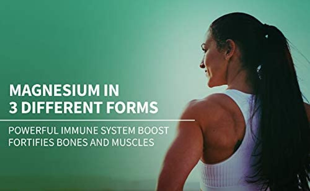 Magnesium + Zinc with Vitamin D3 by Essential Elements - Immune & Bone Support   Magnesium Glycinate, Citrate, Malate - Highly Bioavailable - 3 Month Supply