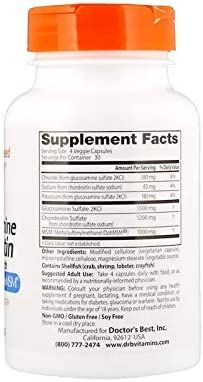 Doctor's Best Glucosamine Chondroitin Msm with OptiMSM Capsules, Supports Healthy Joint Structure, Function & Comfort, Non-GMO, Gluten Free, Soy Free, 120 Count (Pack of 1)
