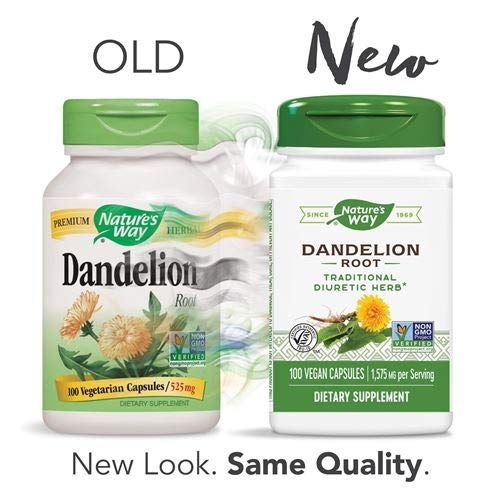 Nature's Way Dandelion Root, 1,575 mg, Non-GMO Project Verified, Gluten Free, Vegetarian, 100 Capsules, Pack of 2