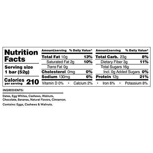 RXBAR, Banana Chocolate Walnut, Protein Bar, 1.83 Ounce (Pack of 12), High Protein Snack, Gluten Free