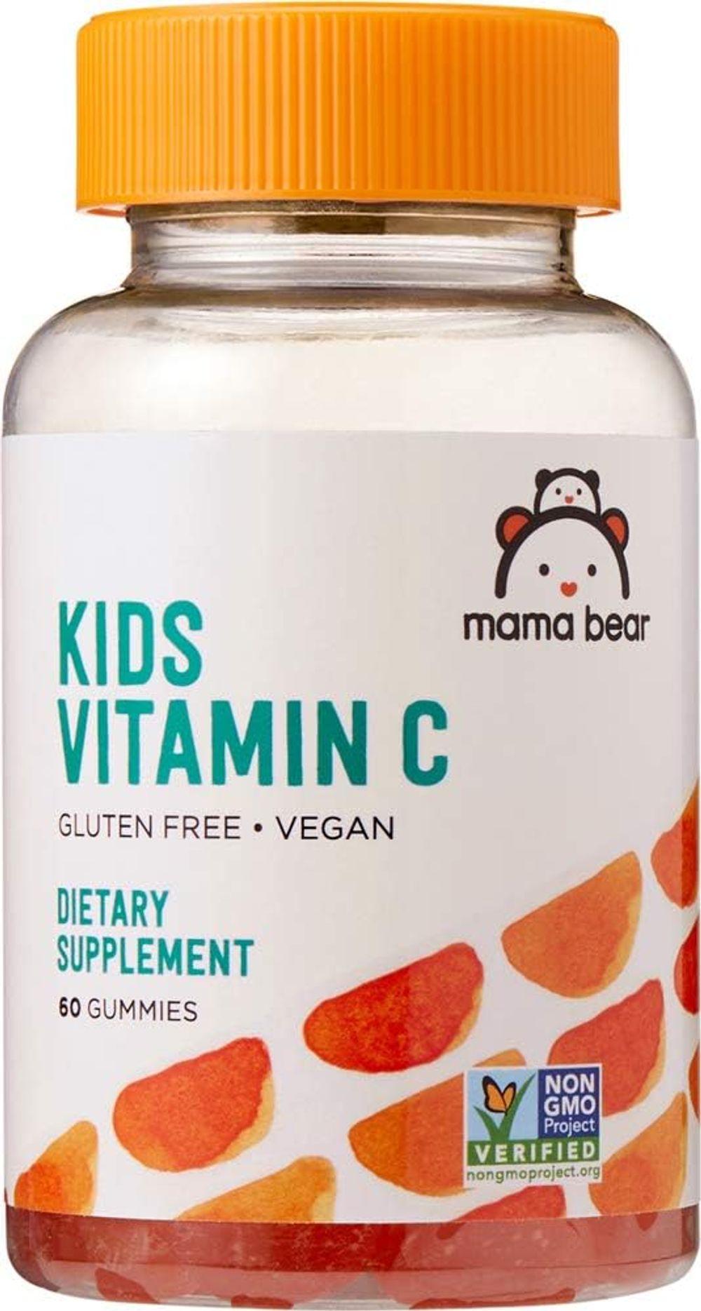 Amazon Brand - Mama Bear Vegan Kids Vitamin C, 60 Gummies, Immune Health, 125 mg Vitamin C per gummy