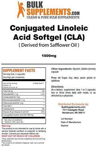 BulkSupplements.com Conjugated Linoleic Acid (CLA) 1000 mg (100 Softgels - 50 Servings)