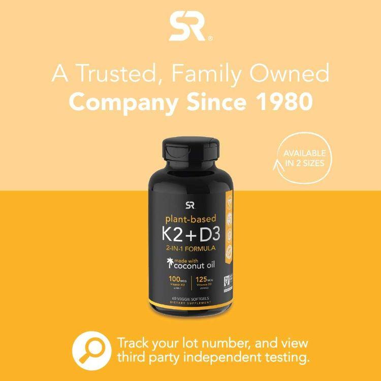 Vitamin D3 + K2 with Organic Coconut Oil - 60 Veggie Softgels