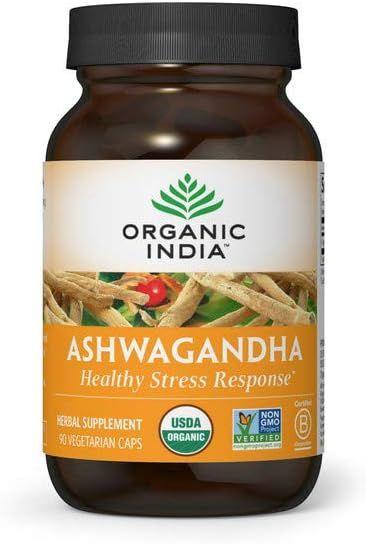 Organic India Ashwagandha Herbal Supplement - Stress Response Support, Vegan, Gluten-Free, Kosher, USDA Certified Organic, Non-GMO, Supports Mood, Endurance, Vitality & Strength - 90 Capsules