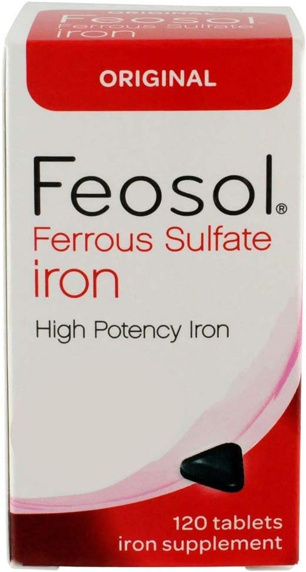 Feosol Original Ferrous Sulfate Iron, 120 Count, High Potency Iron Supplement, White