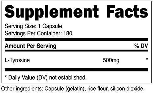 Nutricost L-Tyrosine 500mg, 180 Capsules (2 Bottles)