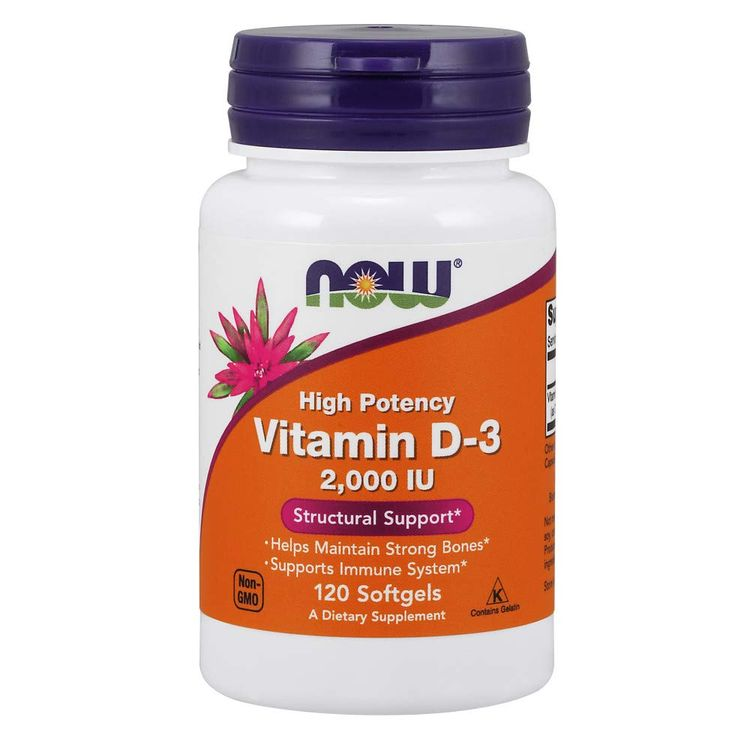 NOW Supplements, Vitamin D-3 2,000 IU, High Potency, Structural Support*, 120 Softgels