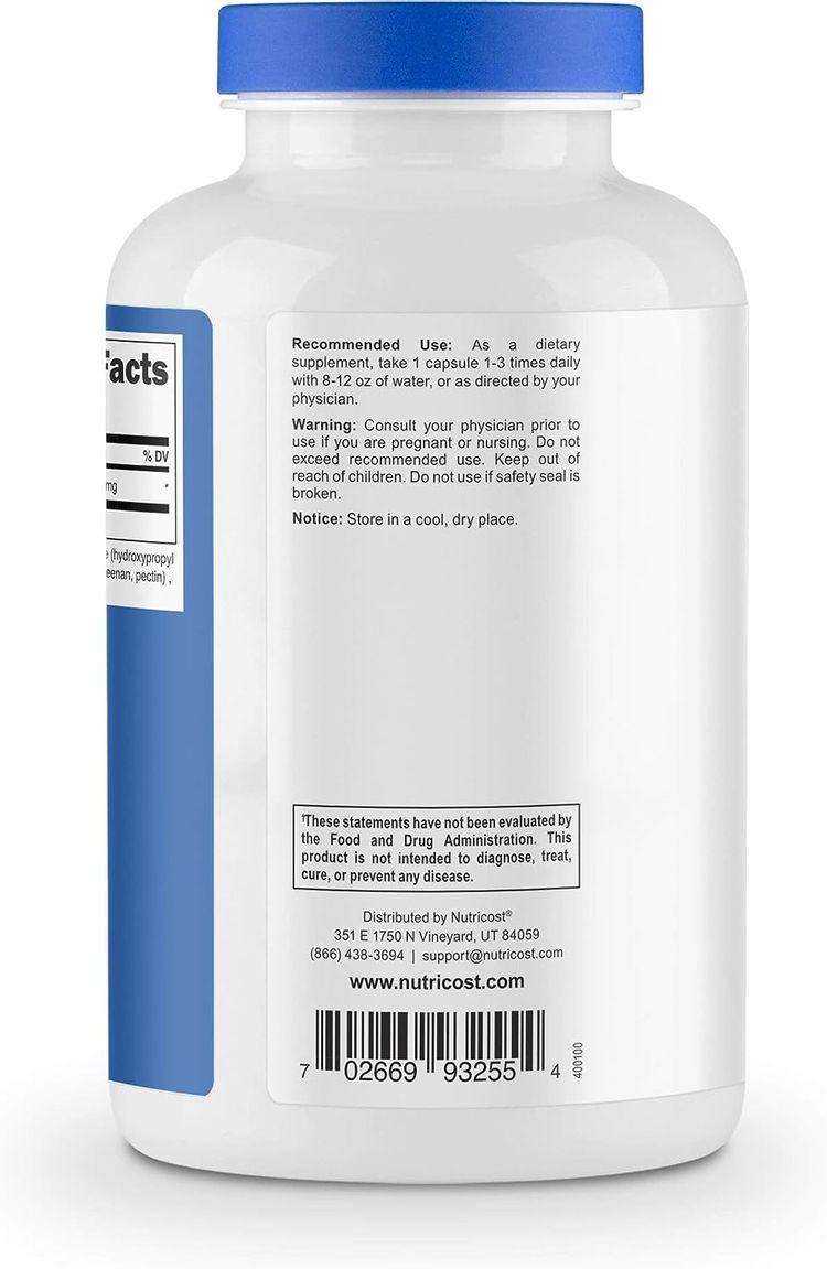 Nutricost N-Acetyl L-Cysteine (NAC) 600mg, 180 Capsules - Veggie Caps, Non-GMO, Gluten Free