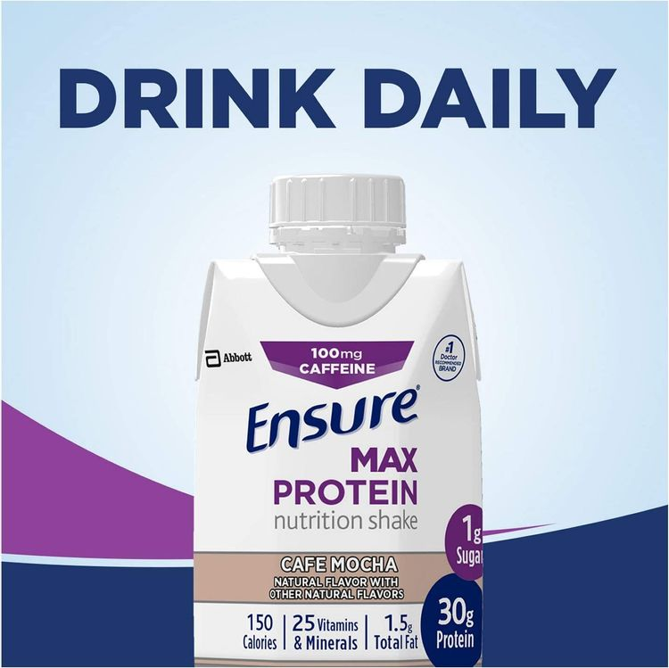 Ensure Max Protein Nutritional Shake with 30g of Protein, 1g of Sugar, High Protein Shake, Café Mocha, 11 fl oz, 12 Count