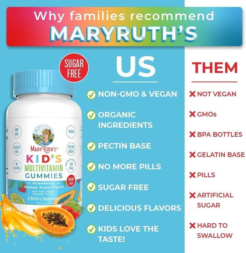 Vegan Kids Multivitamin Gummies by MaryRuth's - Organic Ingredients - Immune Boost - Methylfolate - Sugar Free - Non-GMO Vitamin Chewables 60ct