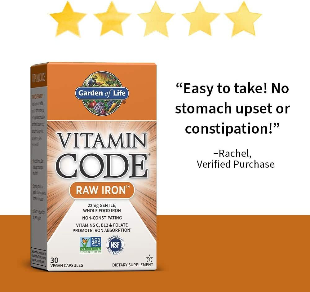 Garden of Life Vitamin Code Raw Iron Supplement - 30 Vegan Capsules, 22mg Once Daily Iron, Vitamins C, B12, Folate, Fruit, Veggies & Probiotics, Iron Supplements for Women, Energy & Anemia Support