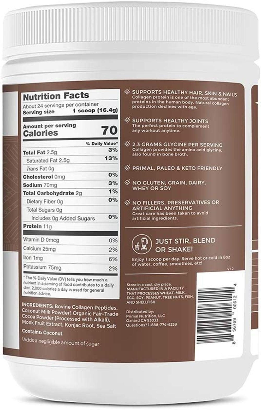 Primal Kitchen Collagen Fuel Protein Mix, Chocolate Coconut,- Non-Dairy Coffee Creamer & Smoothie Booster- Supports Healthy Hair, Skin, and Nails , 24 Servings
