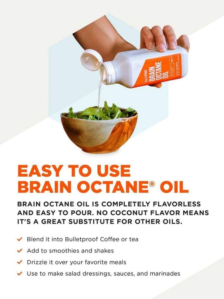 Bulletproof Brain Octane C8 MCT Oil from Coconut Oil, 3 Fl Oz, Provides Mental and Physical Energy, Keto and Paleo Friendly, Made in USA