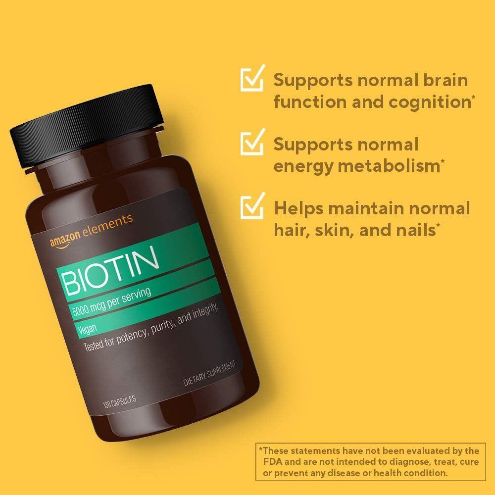 Amazon Elements Vegan Biotin 5000 mcg - Hair, Skin, Nails - 130 Capsules (4 month supply) (Packaging may vary)