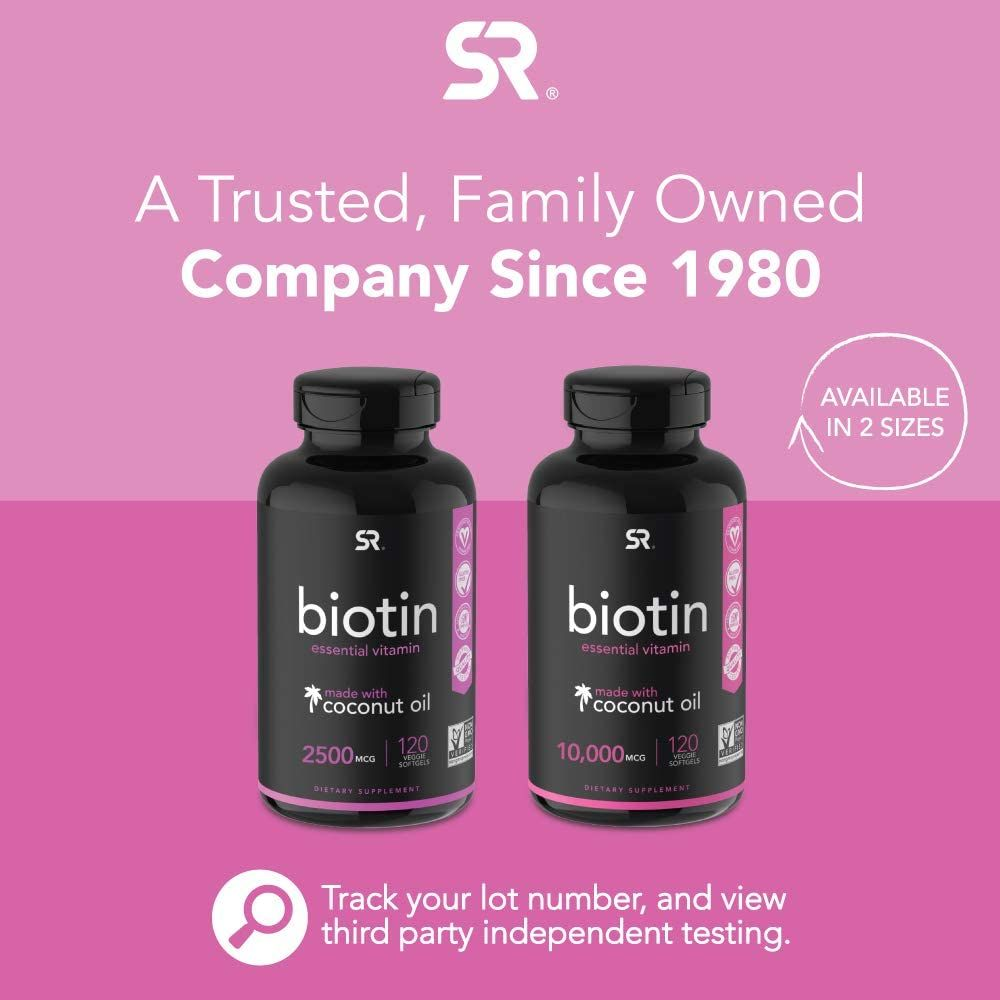 Biotin (2,500mcg) with Organic Coconut Oil | Supports Healthy Hair, Skin & Nails | Non-GMO Verified & Vegan Certified (120 Veggie Softgels)