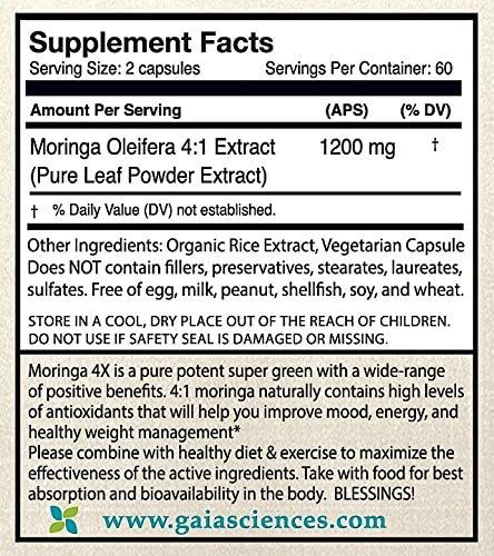 Moringa Capsules: 4X Concentrate 100% Pure Leaf Extract Moringa Superfood Green Powder, Complete Green Super Food Powder Wellness Formula Capsules Vegan 2400mg Daily Whole Foods Vitamins Iron Pills