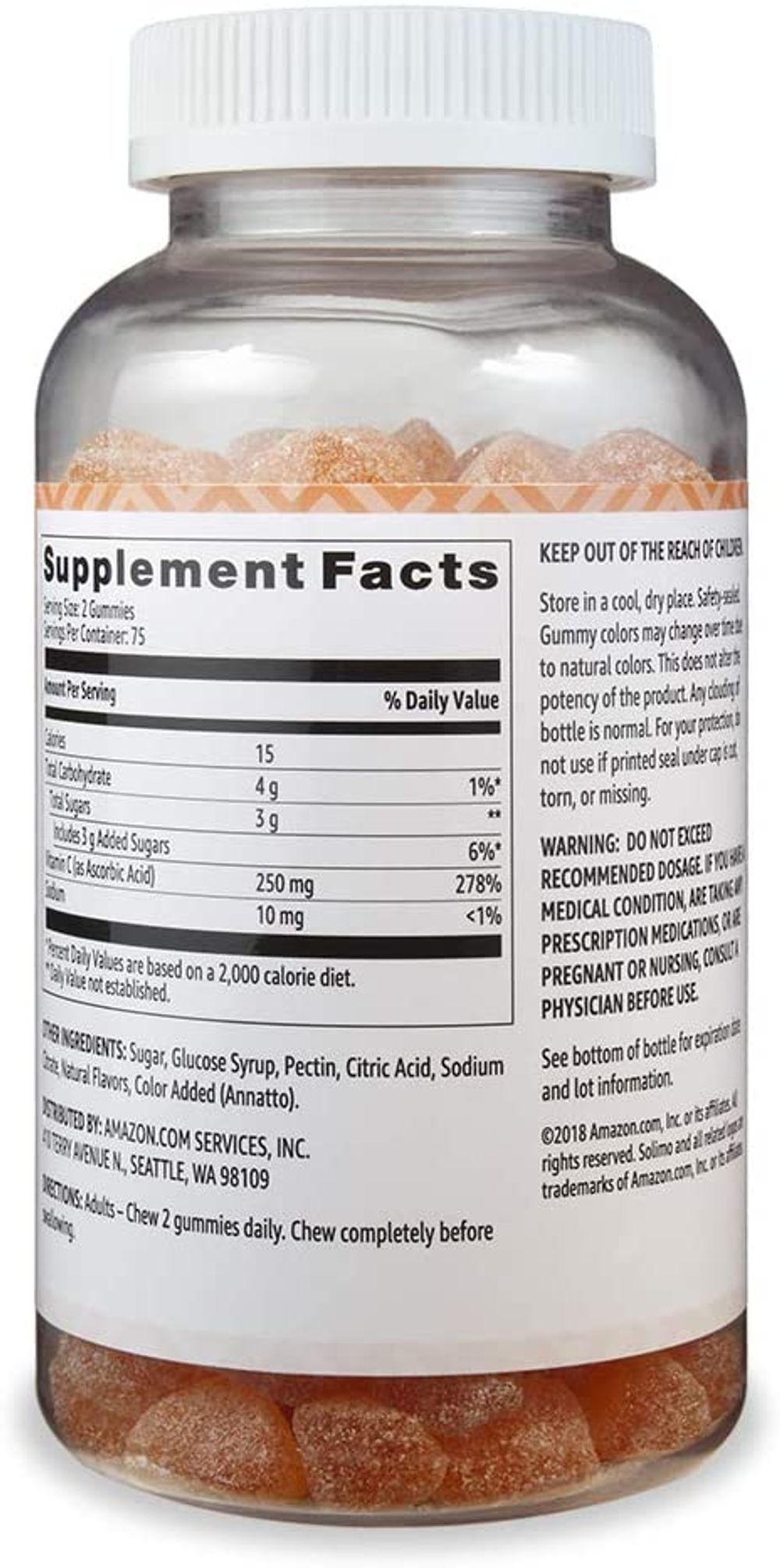 Amazon Brand - Solimo Vitamin C 250mg, 150 Gummies (2 Gummies per Serving), Immune Health