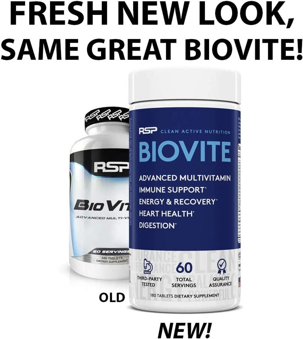 RSP BioVite - Advanced Multivitamin for Immunity Support, Energy, Recovery, and Heart Health - Innovative Formula to Support Immune System and Boost Overall Health, 180 Count (Packaging May Vary)