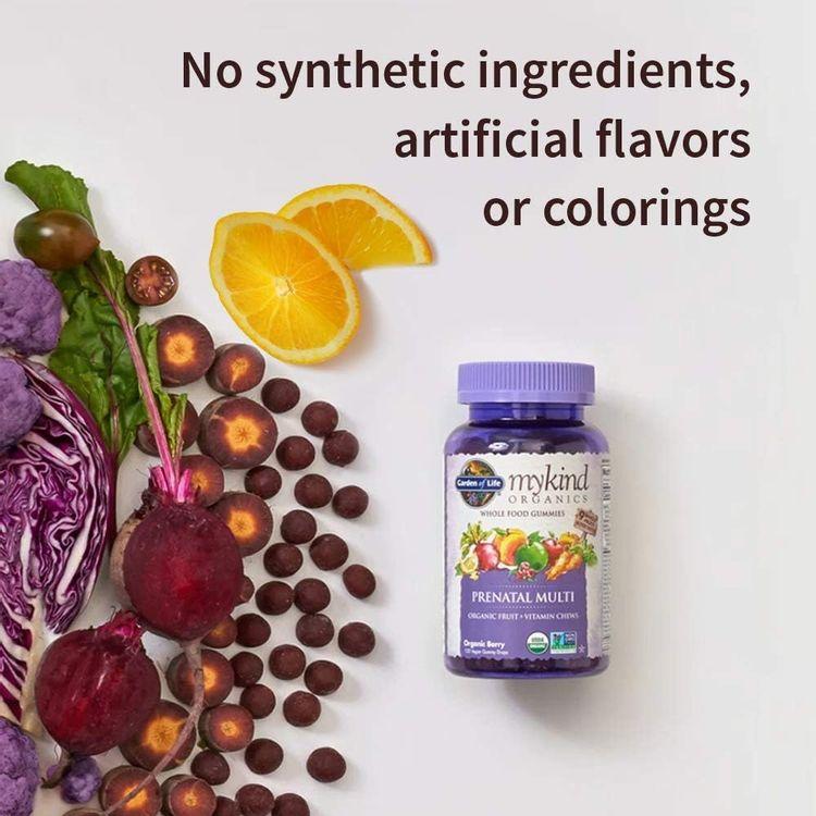 Organics Prenatal Gummy Vitamins - Berry - Organic, Non-GMO, Vegan, Kosher Complete Multi - Methyl B12, D3 & Folate - Gluten, Soy & Dairy Free - 120 Real Fruit Chew Gummies