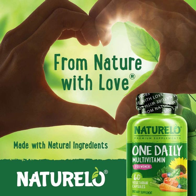 NATURELO One Daily Multivitamin for Women - Best for Hair, Skin, Nails - Natural Energy Support - Whole Food Supplement - Non-GMO - No Soy - Gluten Free - 60 Capsules   2 Month Supply