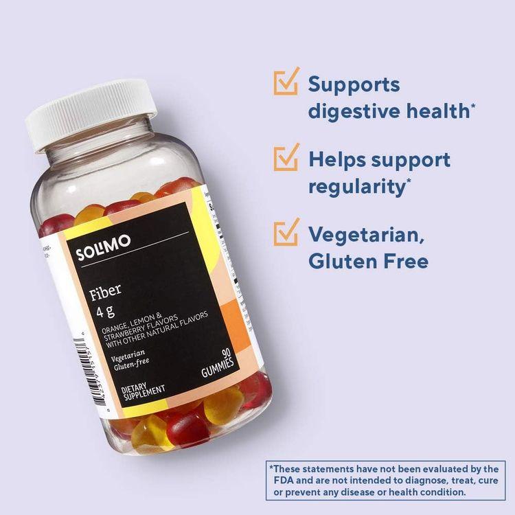 Brand - Solimo Fiber 4g - Digestive Health, Supports Regularity - 90 Gummies (2 Gummies per Serving)