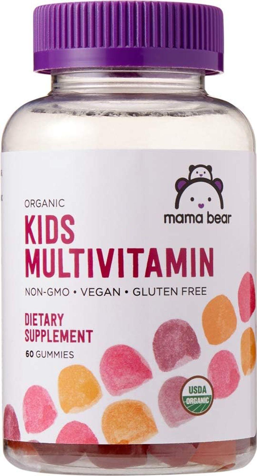 Amazon Brand - Mama Bear Organic Kids Multivitamin, 60 Gummies, 1 Month Supply