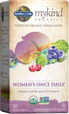 Garden of Life Multivitamin for Women - mykind Organics Women's Once Daily Multi - 30 Tablets, Whole Food Multi with Iron, Biotin, Vegan Organic Vitamin for Womens Health, Energy Hair Skin & Nails
