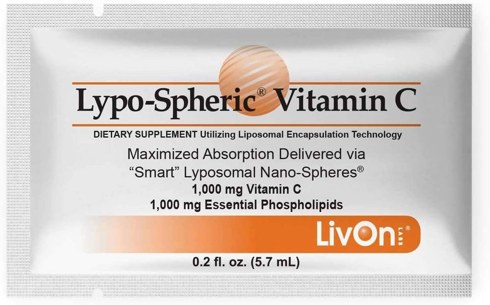 Lypo–Spheric Vitamin C – 2 Cartons (60 Packets) – 1,000 mg Vitamin C & 1,000 mg Essential Phospholipids Per Packet – Liposome Encapsulated for Improved Absorption – 100% Non–GMO
