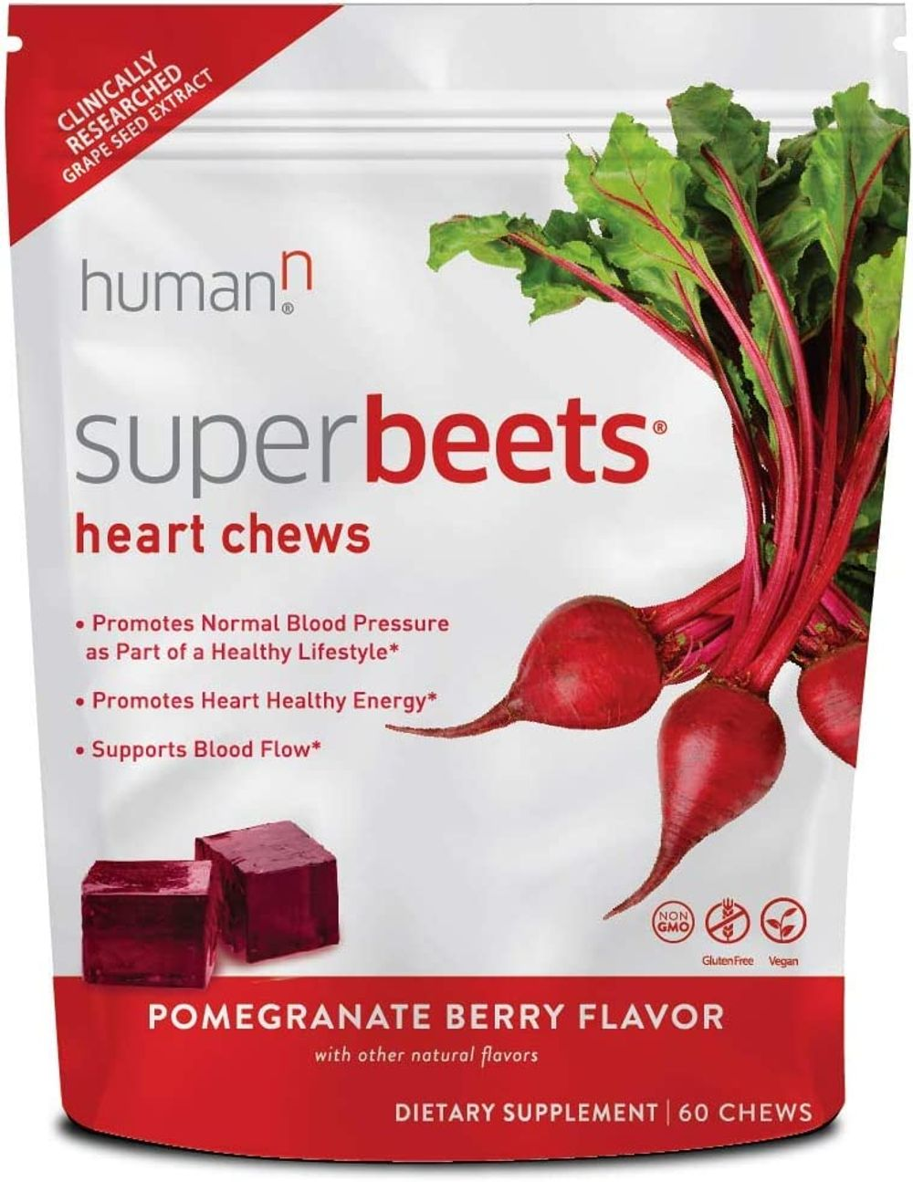 HumanN SuperBeets Heart Chews   Grape Seed Extract and Non-GMO Beet Powder Helps Support Healthy Circulation, Blood Pressure, and Energy, Pomegranate-Berry Flavor, 60-Count