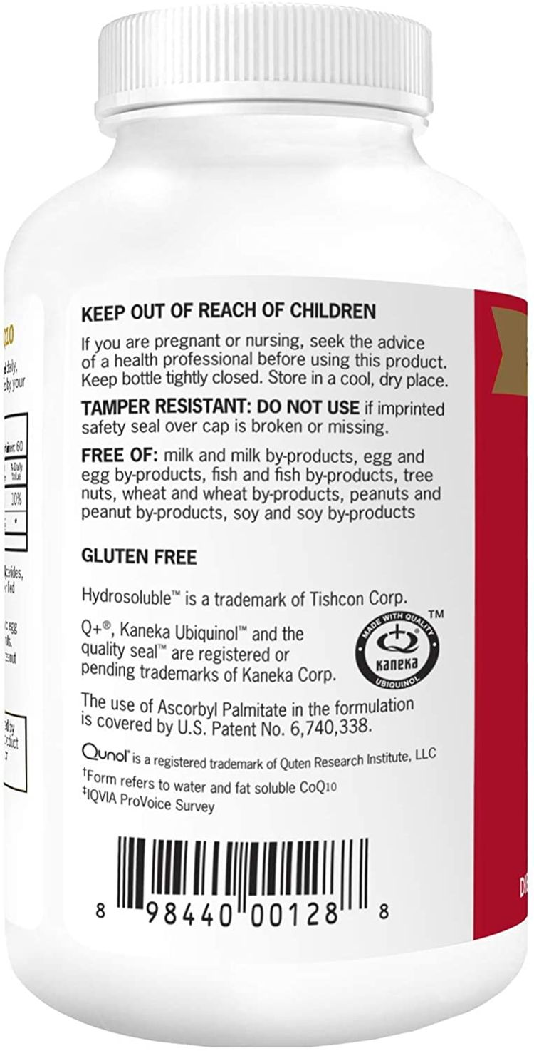 Qunol Mega Ubiquinol CoQ10 100mg, Superior Absorption, Patented Water and Fat Soluble Natural Supplement Form of C0Q10, Antioxidant for Heart Health, 60 Count Softgels