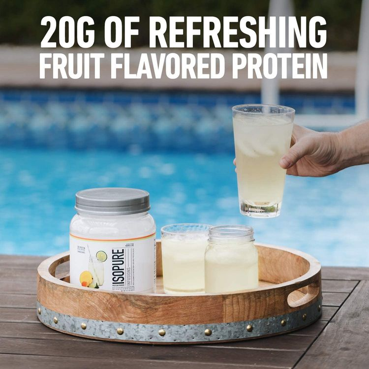 """ISOPURE INFUSIONS, Refreshingly Light Fruit Flavored Whey Protein Isolate Powder, """"Shake Vigorously & Infuses in a Minute"""", Citrus Lemonade, 36 Servings"""