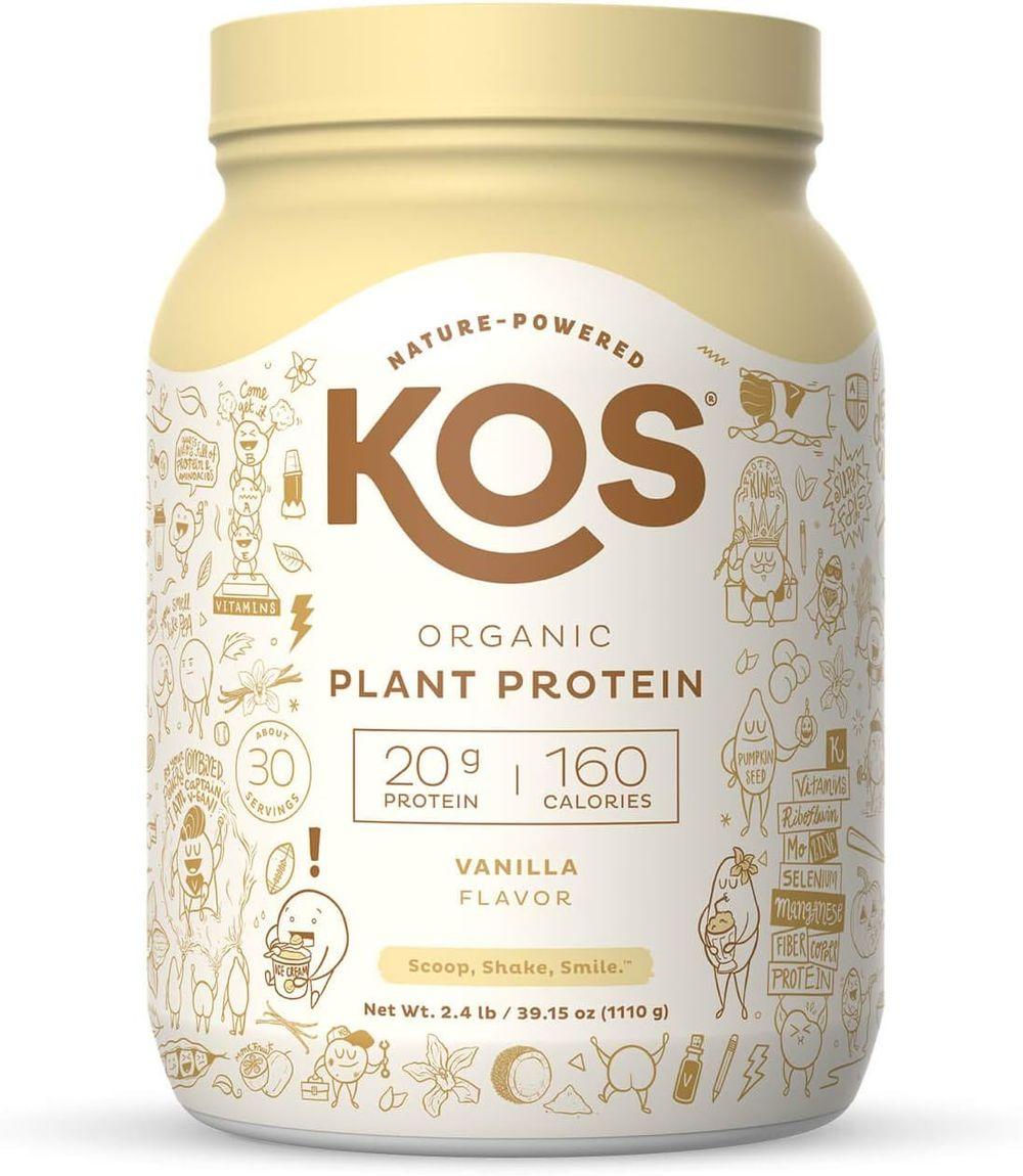 KOS Organic Plant Based Protein Powder, Vanilla - Delicious Vegan Protein Powder - Keto Friendly, Gluten Free, Dairy Free and Soy Free - 2.4 Pounds, 30 Servings