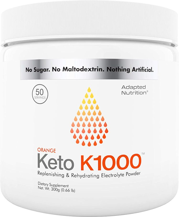 Keto K1000 Electrolyte Powder | Boost Energy & Beat Leg Cramps | No Maltodextrin or Sugar | No Ingredients from China | Delicious Orange, Lighter Stevia Taste | 50 Servings