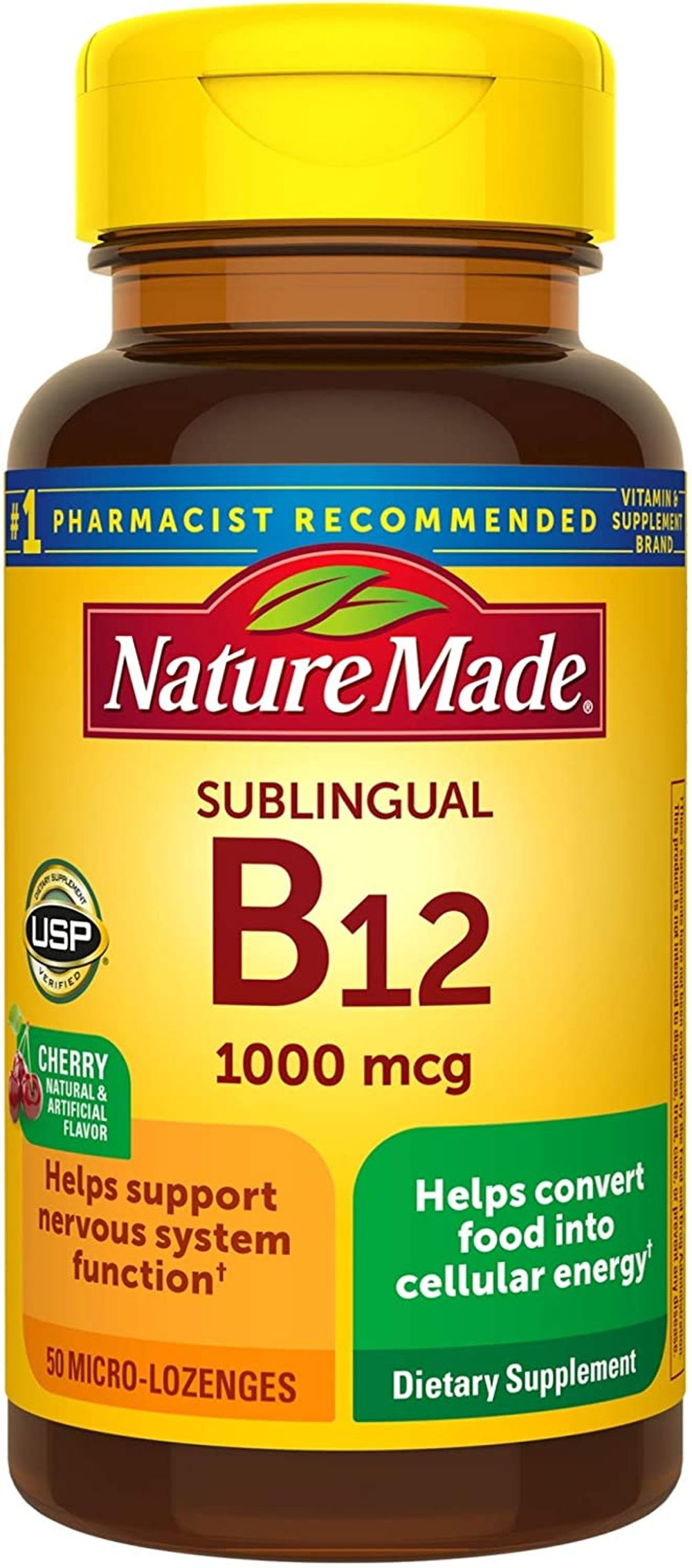 Nature Made Sublingual Vitamin B12 1000 mcg Micro-Lozenges, 50 Count for Metabolic Health† (Pack of 3)