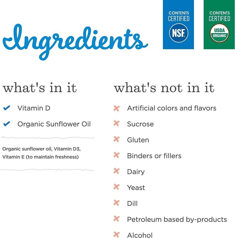 Mommy's Bliss Organic Drops No Artificial Color, Vitamin D, 0.11 Fl Oz