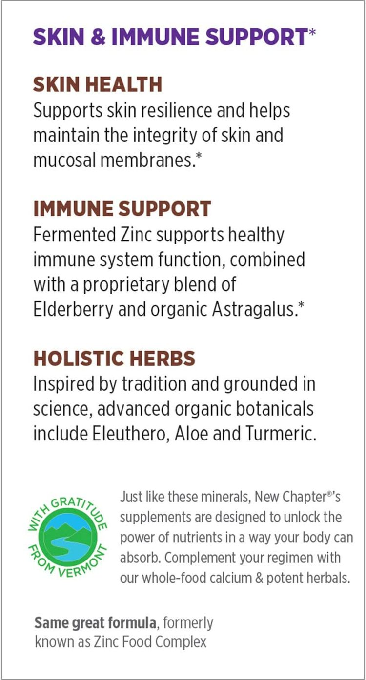 Zinc Supplement – Once Daily – New Chapter Fermented Zinc Complex – Immune Support with Elderberry + Skin Health + Non-GMO – 60ct Vegetarian Tablets