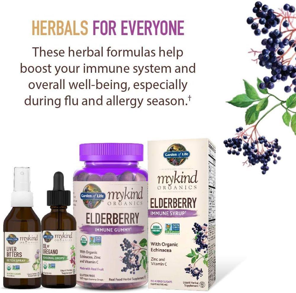 Garden of Life mykind Organics Elderberry Plant Based Immune Gummy - 120 Real Fruit Gummies for Kids & Adults - Echinacea, Zinc & Vitamin C, No Added Sugar Herbal Supplements
