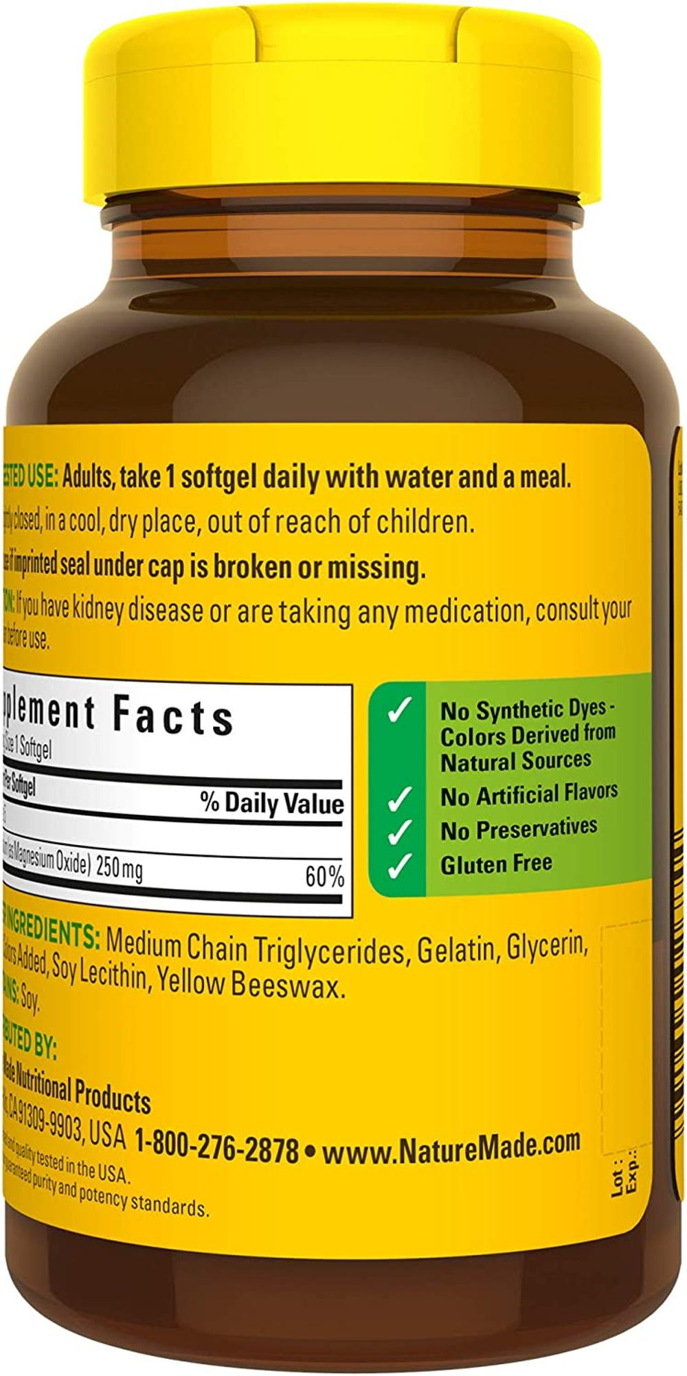 Nature Made Magnesium Oxide 250 mg Softgels, 90 Count for Nutritional Support† (Packaging May Vary)