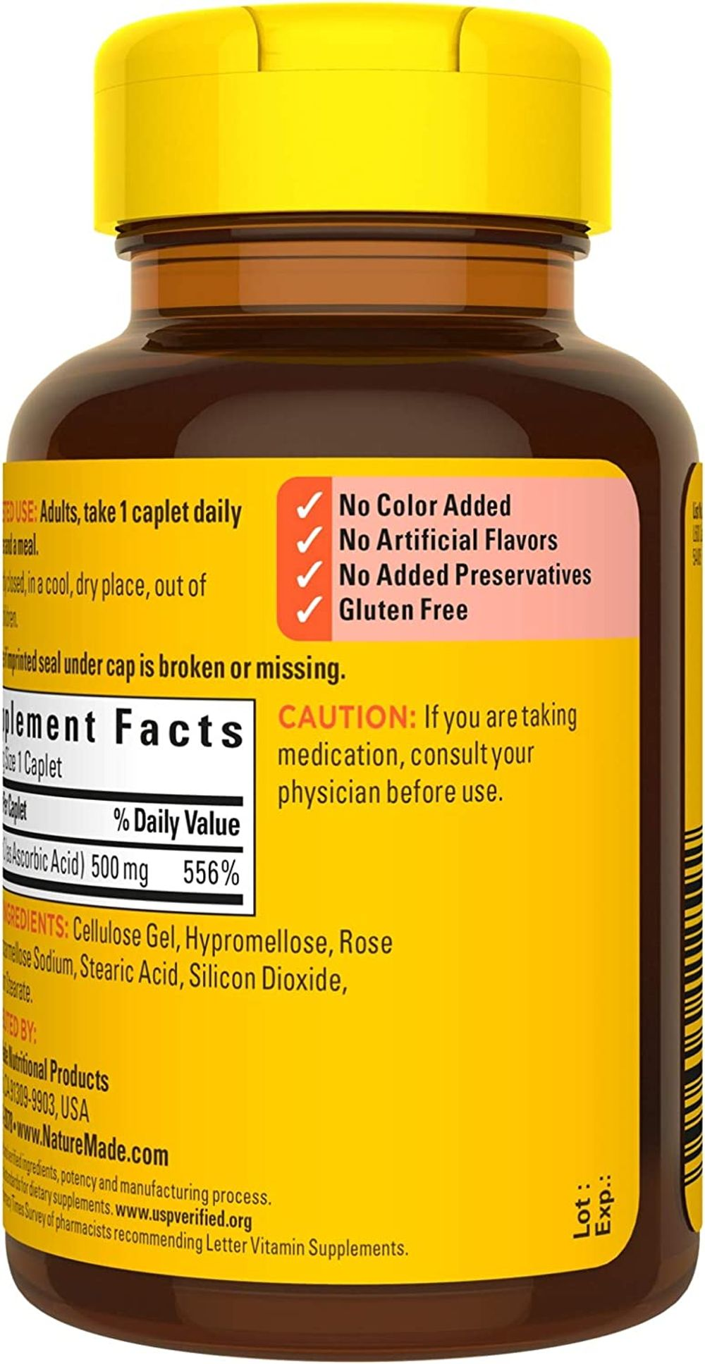 Nature Made Vitamin C 500 mg Caplets with Rose Hips, 130 Count (Packaging May Vary)