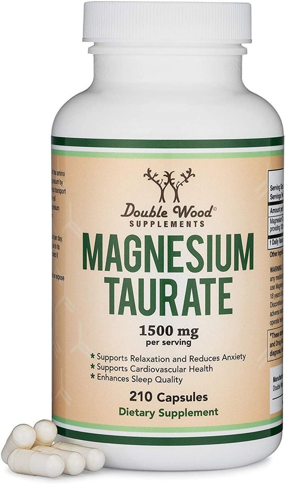 Magnesium Taurate Supplement for Sleep, Calming, and Cardiovascular Support (1,500mg per Serving, 210 Vegan Capsules) Made in USA, by Double Wood Supplements