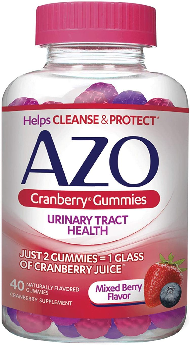 AZO Cranberry Urinary Tract Health Gummies Dietary Supplement   2 Gummies = 1 Glass of Cranberry Juice   Helps Cleanse & Protect*   Natural Mixed Berry Flavor   40 Gummies