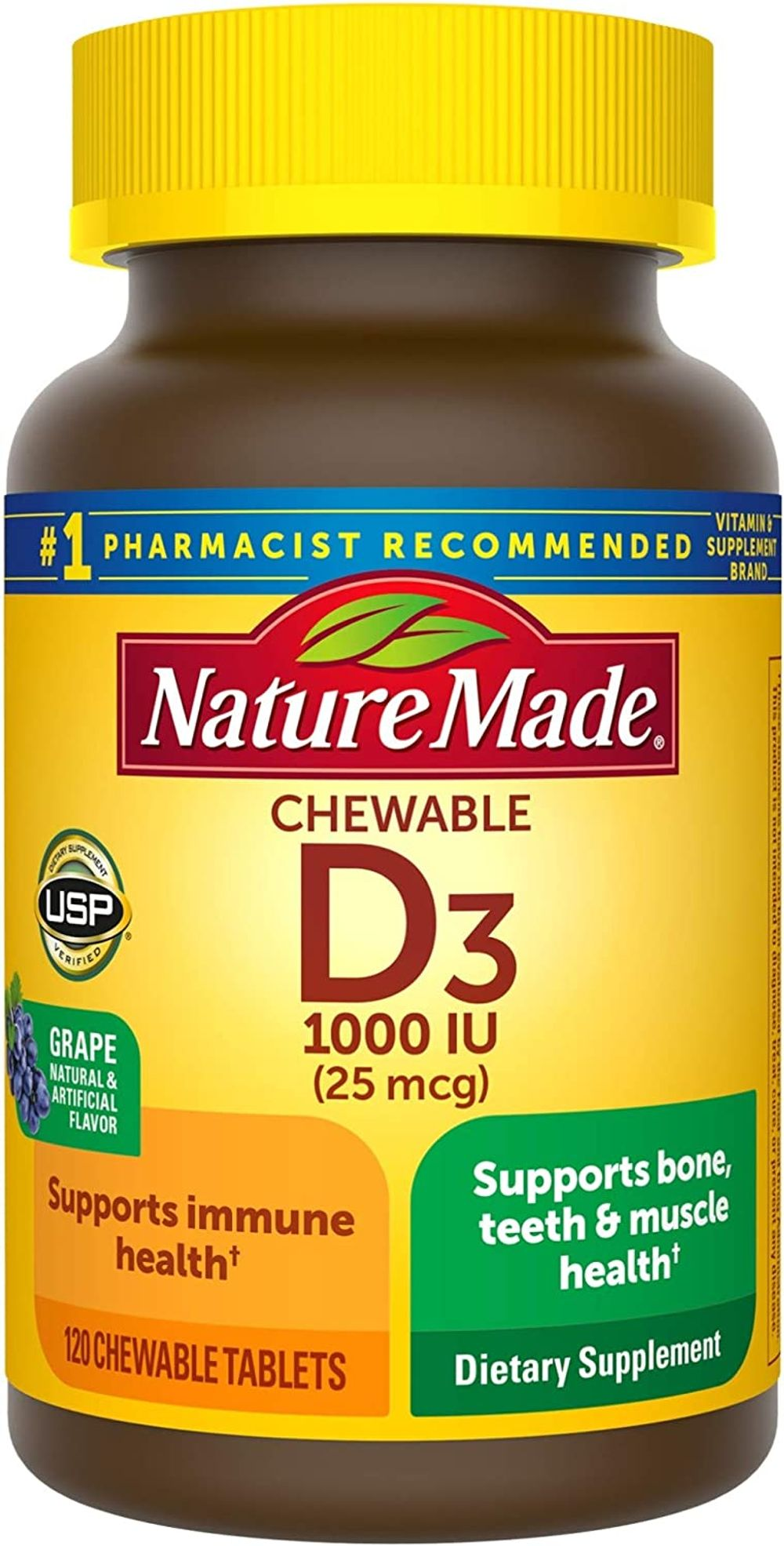 Vitamin D3, 120 Chewable Tablets, Vitamin D 1000 IU (25 mcg) Helps Support Immune Health, Strong Bones and Teeth, & Muscle Function, One Daily Chewable Tablet
