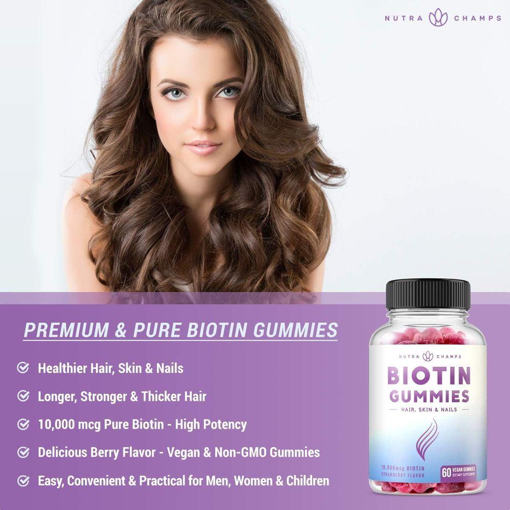 Biotin Gummies 10,000mcg [Highest Potency] for Healthy Hair, Skin & Nails for Adults & Kids - 5000mcg in Each Gummy Vitamin - Vegan, Non-GMO, Pectin-Based Hair Growth Supplement