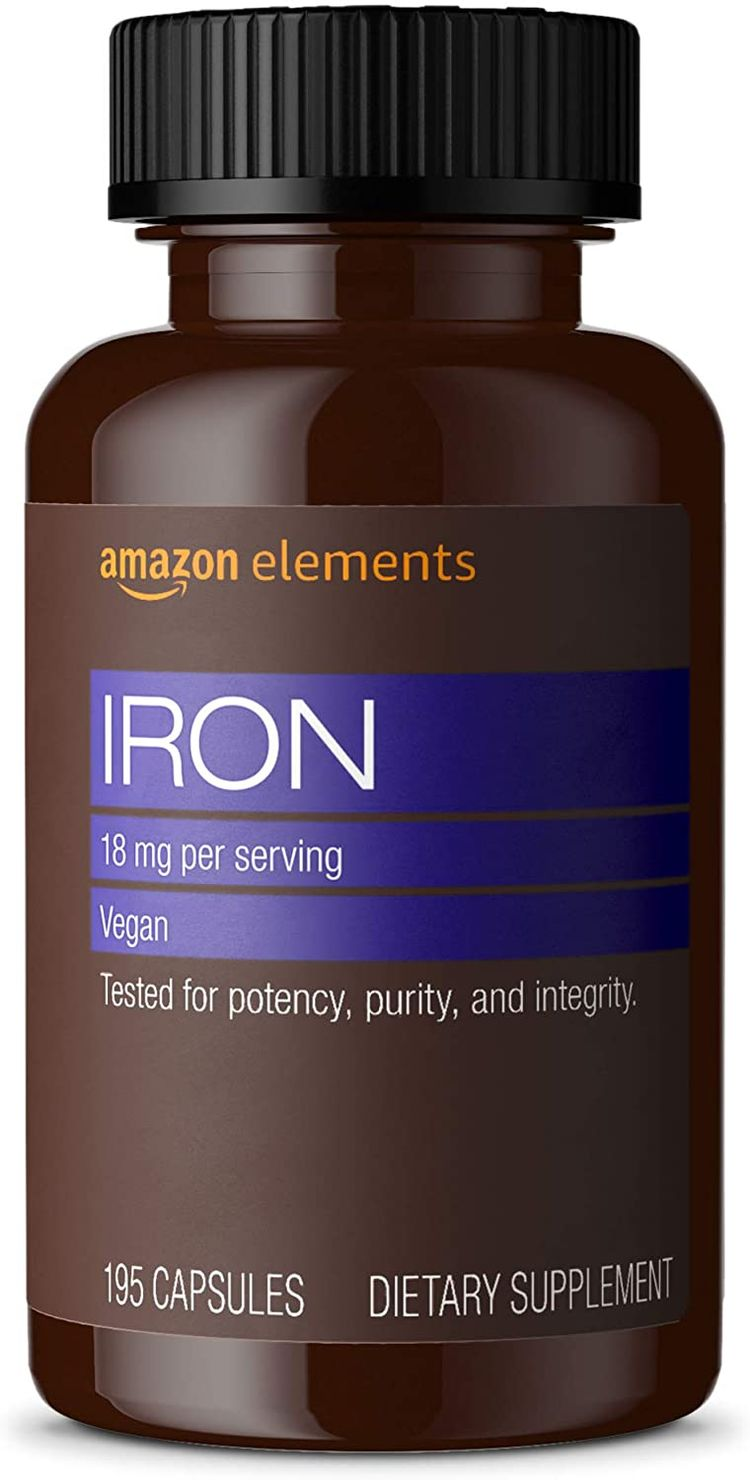 Elements Iron 18mg, Vegan, 195 Capsules, 6 Month Supply & Vitamin D3, 5000 IU, 180 Softgels, 6 Month Supply
