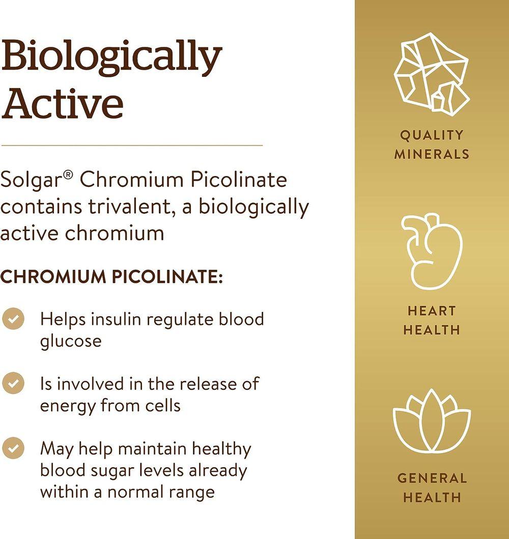 Solgar – Chromium Picolinate 500 mcg, 120 Vegetable Capsules