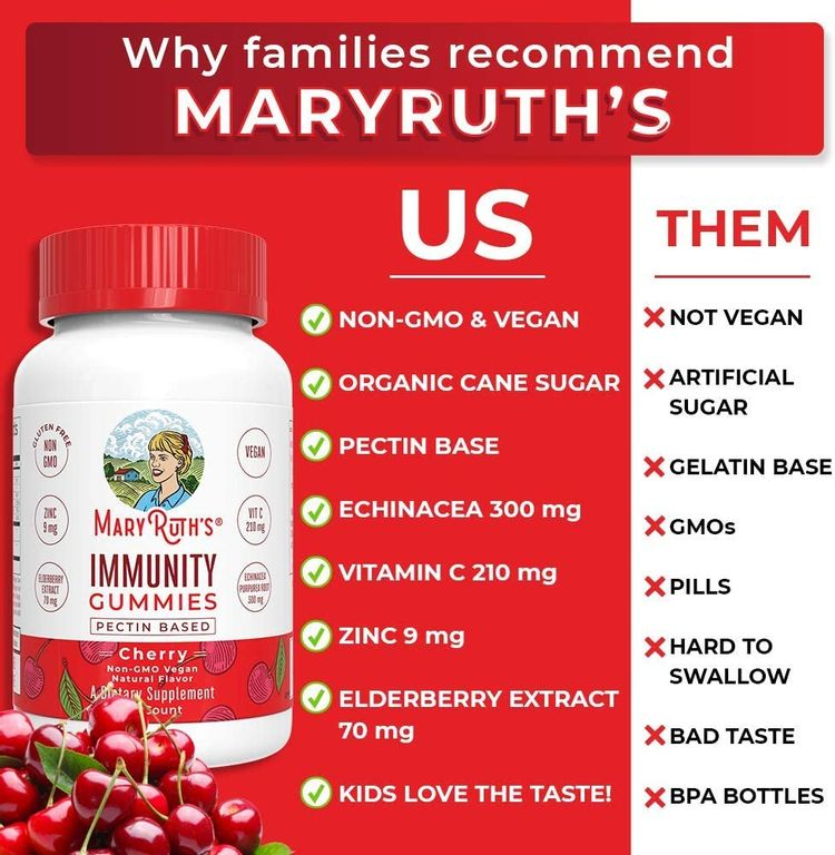 Immunity Gummies Elderberry 5-in-1 for Kids - Adults by MaryRuth's - Organic Ingredients - Echinacea, Vitamin C and D - Vegan Non-GMO Cherry 90ct