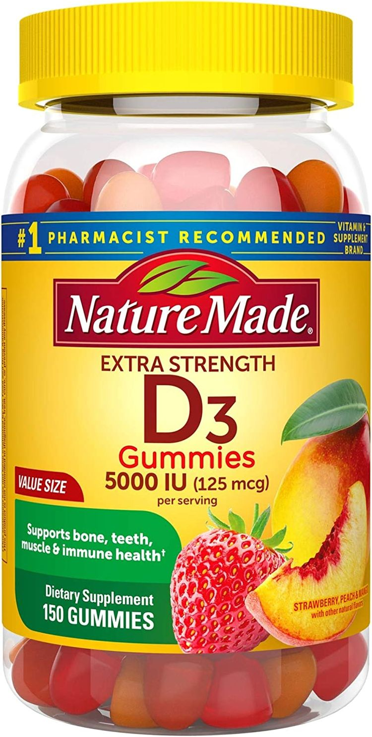 Nature Made Extra Strength Vitamin D3 5000 IU (125 mcg) Gummies, 150 Count for Bone Health† (Packaging May Vary)